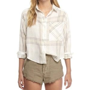 Free People Cropped Cutie Plaid Top Size XS
